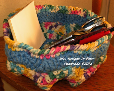Handmade Basket By RSS Designs In Fiber - Multi-Color Dots and Light Blue Design