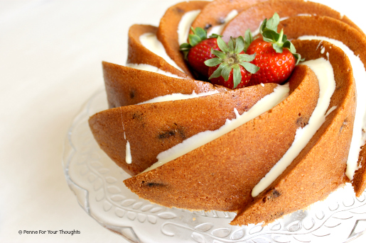Lemon Strawberry White Chocolate Bundt Cake