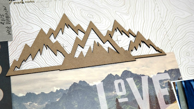 Explore Together Camping Scrapbook Layout with Chipboard Mountains