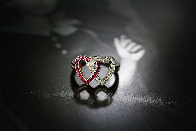 DIAMOND & RUBY DOUBLE HEART RING by J.E.Caldwell