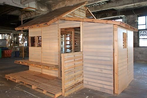 This is the Pallet Emergency Home. It Can Be Built in One Day With Only Basic Tools. - It was originally designed to be a transitional shelter for refugees returning to Kosovo.