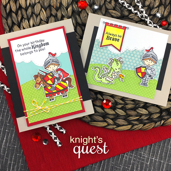 Knight cards by Jennifer Jackson | Knight's Quest Stamp Set by Newton's Nook Designs #newtonsnook #handmade #knight