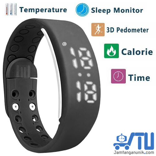 W2 sport watch jam tangan 3d pedometer kalori sleep monitor temperatur