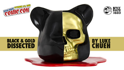New York Comic Con 2016 Exclusive Black & Gold Dissected Bear Head Vinyl Figure by Luke Chueh x Clutter
