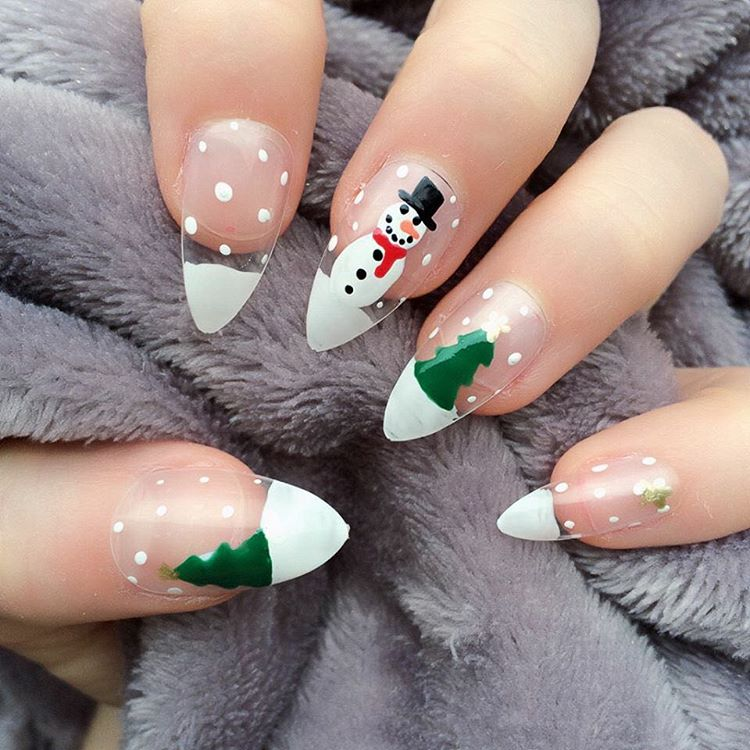 Stiletto Nail Art With Christmas Theme