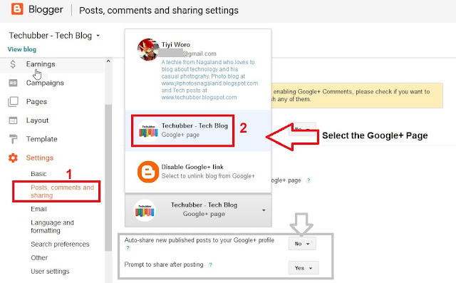 Setup Blogger to auto publish blog posts from Blogger to Google Plus Page