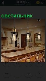 Большое помещение со столом и стульями. На потолке висят светильники
