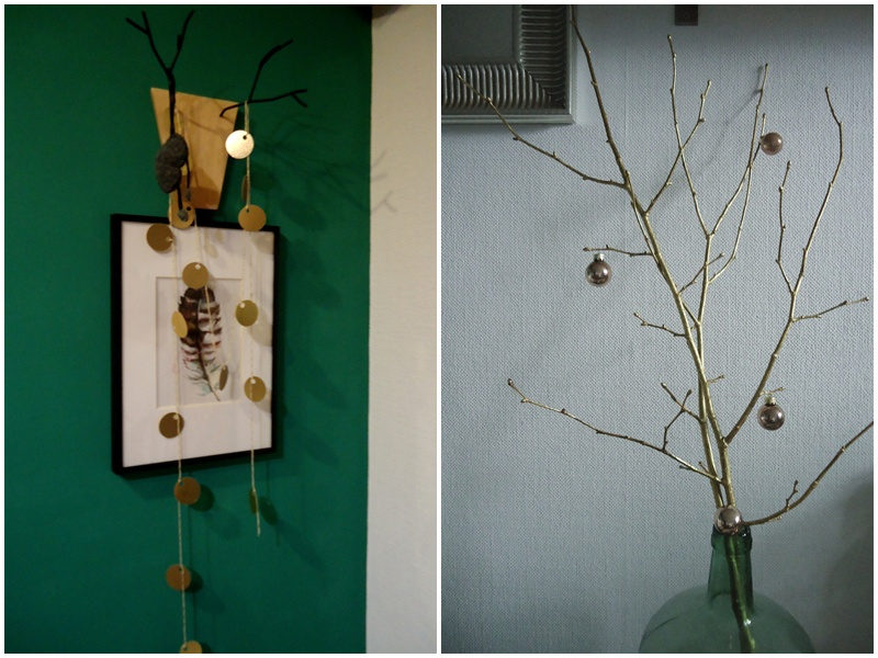 zieleń i złoto, dekoracje na święta
