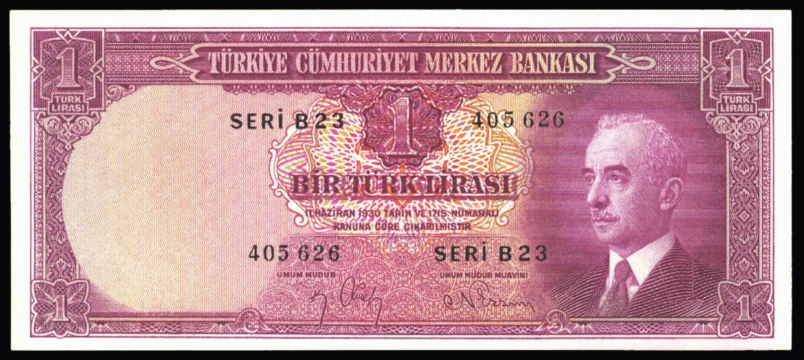 Turkey currency 1 Turkish Lira note 1930 İsmet İnönü
