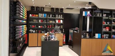 vista lateral loja chá balcão caixa