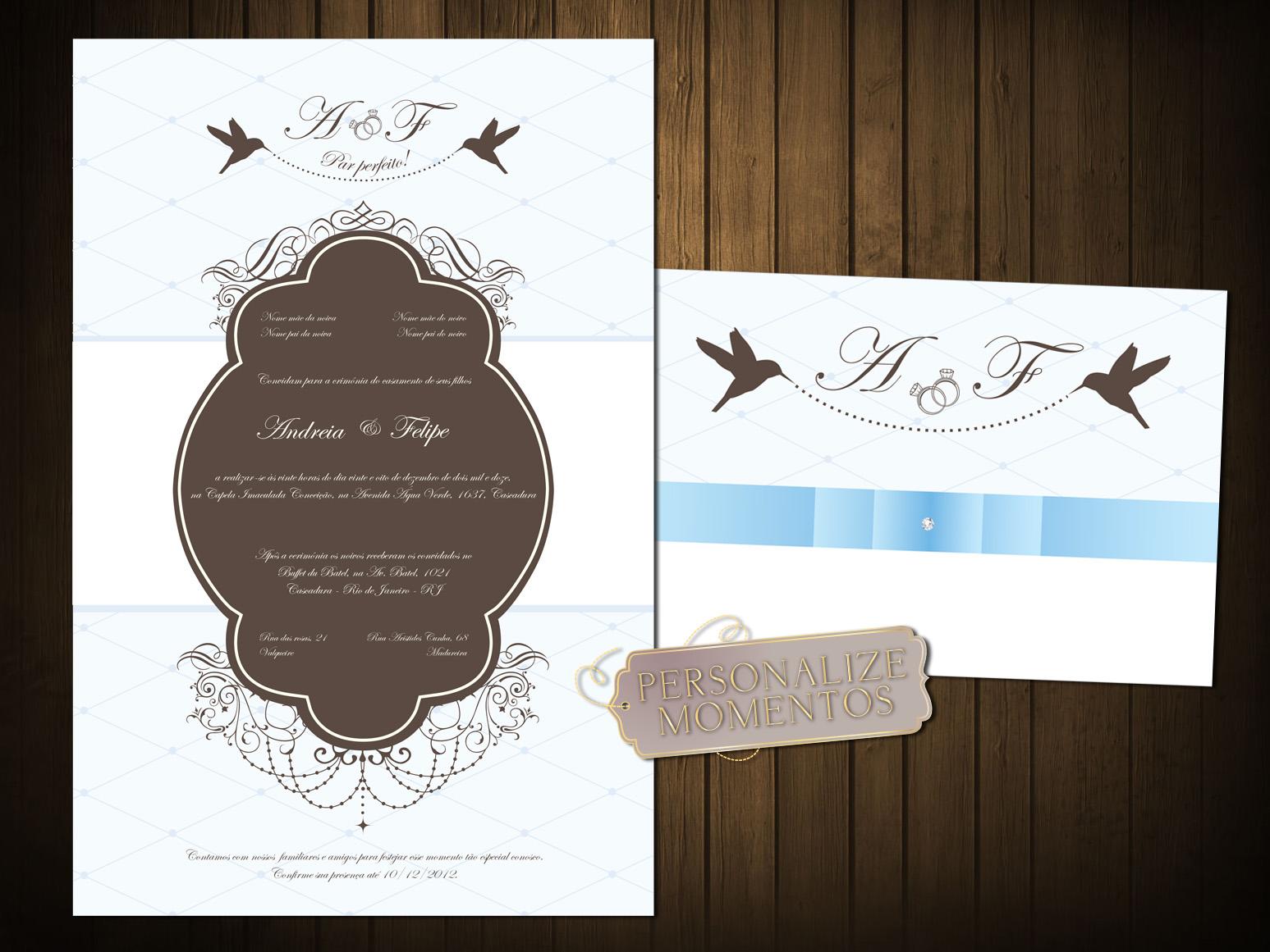 Personalize Momentos Convite Casamento Modelo Classic Birds