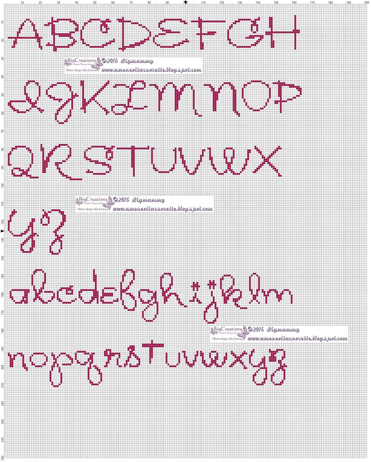 Amorevitacrocette vari alfabeti a punto croce for Lettere a punto a croce