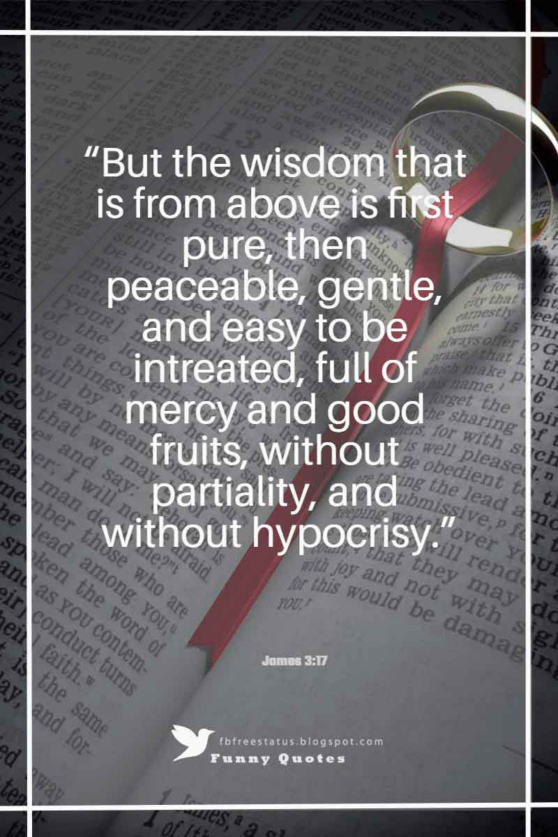 """But the wisdom that is from above is first pure, then peaceable, gentle, and easy to be intreated, full of mercy and good fruits, without partiality, and without hypocrisy.""― James 3:17"