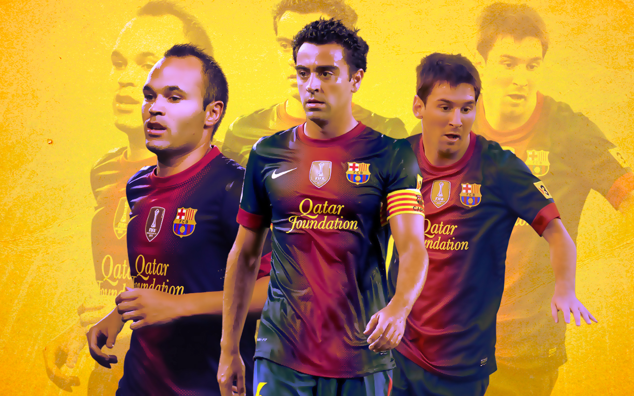 Football Wallpapers Xavi Iniesta Messi Barcelona