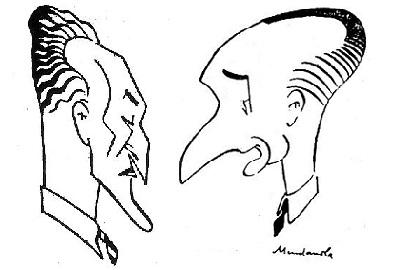 Caricaturas de los ajedrecistas Ramon Arbó y Joaquim Gil