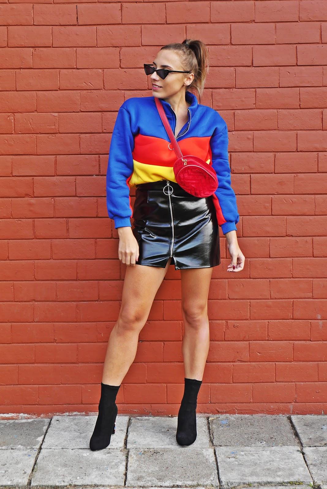 Kolorowy top shein botki kamienie renee spódnica lateksowa karyn blog modowy