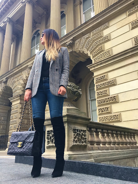 Toronto, Tourist in Toronto, fashioncanadians, toronto blogger, canadian fashion blogger, real outfit, real style, how to wear a blazer, hm blazer, check blazer, over the knee boots, OTK boots, visit toronto. mystyle, women style