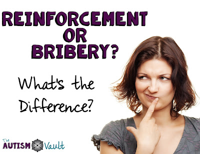 "Ever get tripped up by a parent or colleague asking you the question ""isn't that bribery?""  You try to be quick on your feet but end up tongue tied and questioning yourself.  Read about the key differences between reinforcement and bribery."