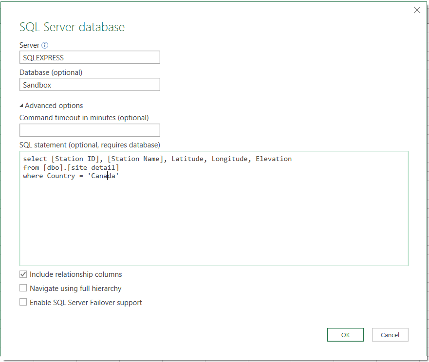 SQL Server data flow into Excel template with Power Query