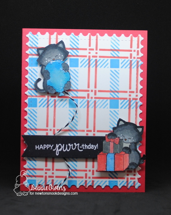 Have a purr-fect birthday by Debbie features Newton's Birthday Bash, Newton's Birthday Balloons, Plaid stencil, Framework, and Frames & Flags by Newton's Nook Design; #newtonsnook