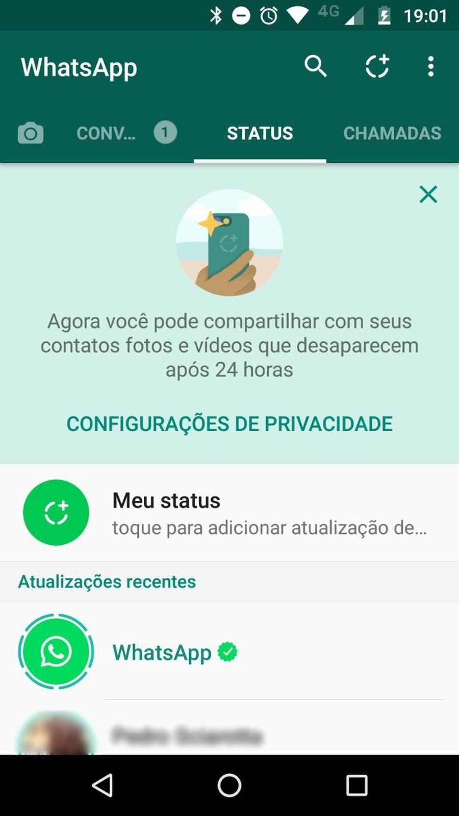 WhatsApp Status, com imagens que somem em 24 horas, chega ao Brasil