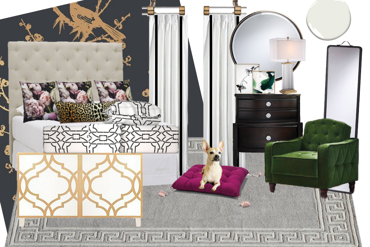 One Room Challenge Master Bedroom Inspiration Board: Boutique hotel vibes with black, white, gold touches and accents.