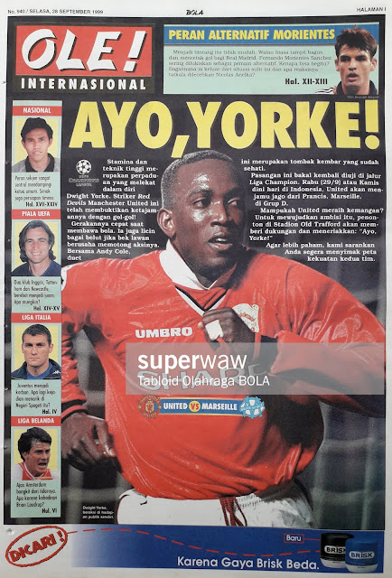 DWIGHT YORKE OF MANCHESTER UNITED VS MARSEILLE