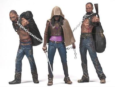 The Walking Dead Television Series 3 Action Figures by McFarlane Toys - Michonne, Michonne's Zombie Pet 1 & Michonne's Zombie Pet 2