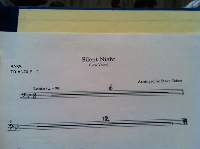 Funny Christmas Music Silent Night Sheet Music for Bass Triangle