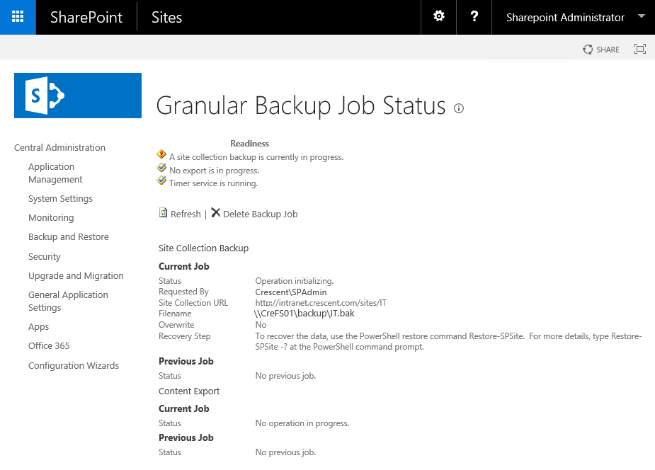backup site collection sharepoint 2016 central admin