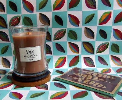 WoodWick candle and Falling Leaves giftwrap