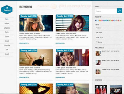Rocket Responsive, Simple design Lifestyle, Magazine, Personal blog Vertical Drop down Menu Gird view Gallery style White, Gray, Blue color Premium template 3 Columns layout Blogger Template download
