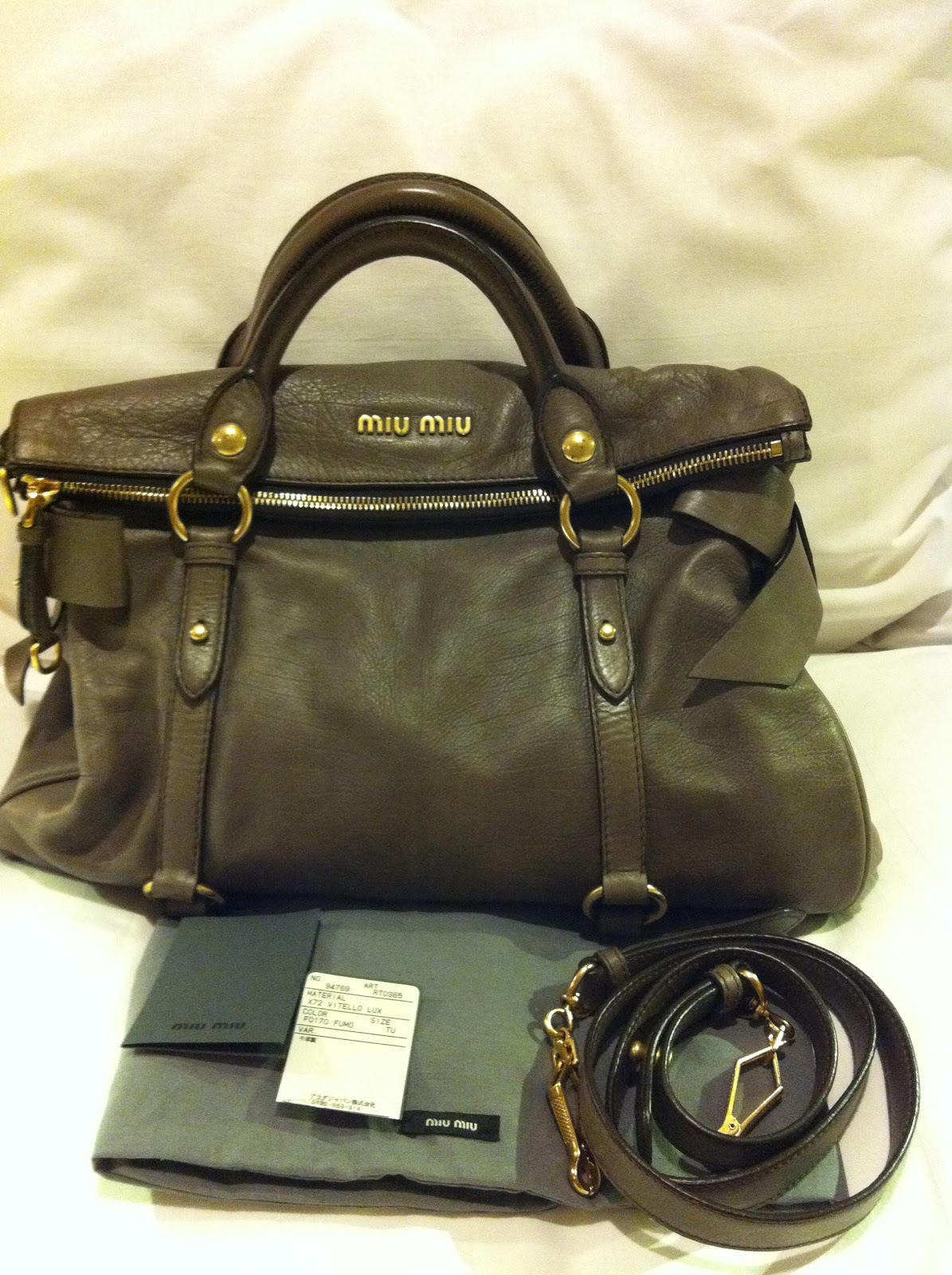 10aa8a6caf8e Baghaven-Bookoff  SOLD Authentic Miu Miu Vitello Lux Bow Satchel Bag