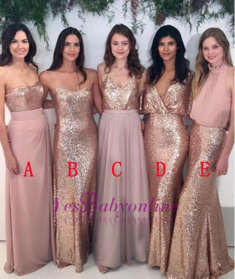 Mismatch Bridesmaid Dress,Sequin Bridesmaid Dresses,Chiffon Bridesmaid Dress- Factory price: US $129.00