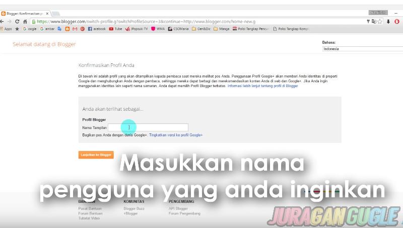 nama pengguna blogger