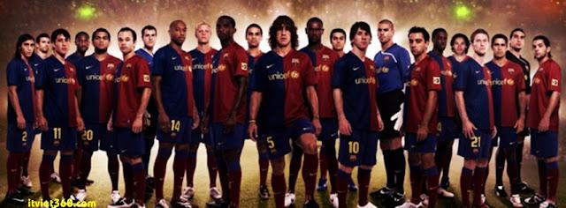 Ảnh bìa Facebook bóng đá - Cover FB Football timeline, đội hình ra sân barca