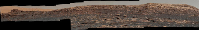 Curiosity Mars rover climbing toward ridge top