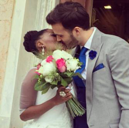 TOSIN BUCKNOR AND HUSBAND ON THEIR WEDDING DAY