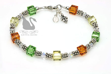 Autumn's Embrace Fall Leaf Beaded Crystal Allure Bracelet (B020-D2) | Crystal Allure Beaded Jewelry Creations