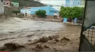 Forte chuva quase destrói cidade de Novo Triunfo da Bahia; veja vídeo