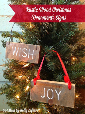Christmas ornaments made with scrap wood and wire