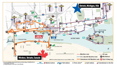 Image of the course map for the Detroit Free Press Marathon