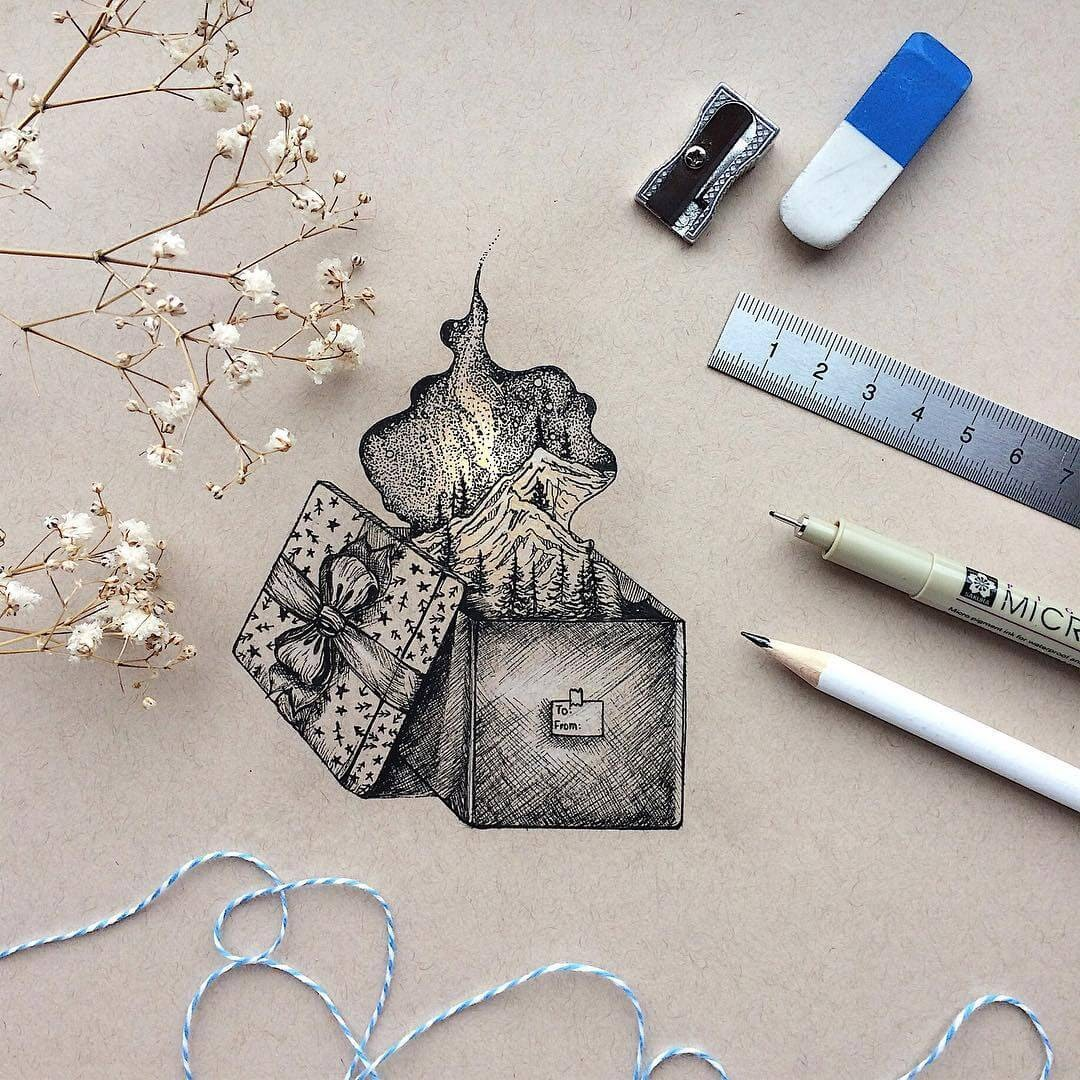 05-A-gift-box-Rosa-F-Detailing-and-Symbolism-in-Ink-Drawings-www-designstack-co