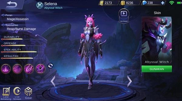 Hero Selena, Hero Mage Assasin Dengan Skill Mirip Roger