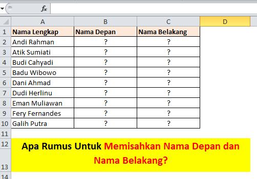 contoh tabel memisahkan nama depan dan belakang