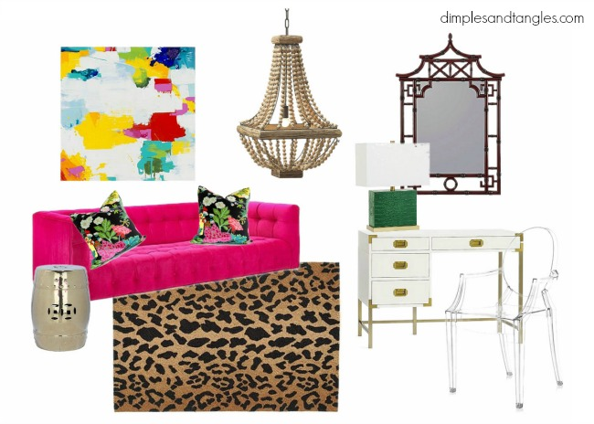 pagoda mirror, bead chandelier, abstract art, leopard rug, ghost chair, campaign desk, garden stool, pink sofa