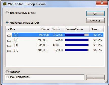 Выбор дисков WinDirStat.