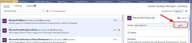 .NET Core Utilisation de Dynamic -> Installation du package Microsoft.CSharp