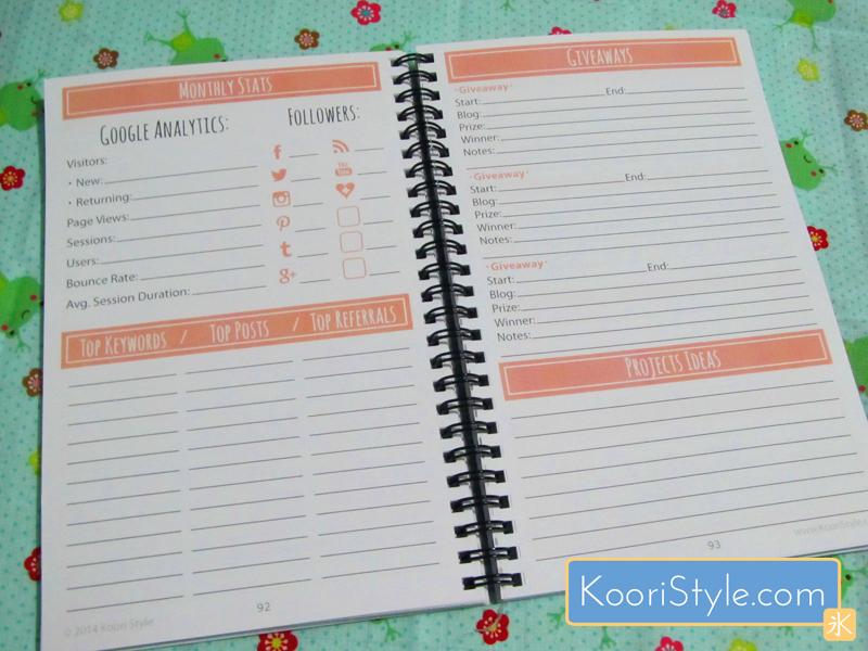 Cute Kawaii Koori Style  KooriStyle Weekly Monthly Blog Planner Agenda Organization Printable PDF Blogging