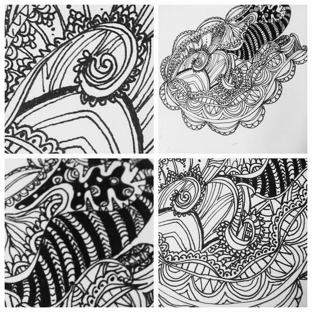 mendhi inspired patterns and line drawing on the lemon hive